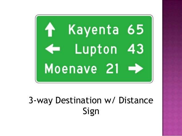 3-way Destination w/ Distance            Sign