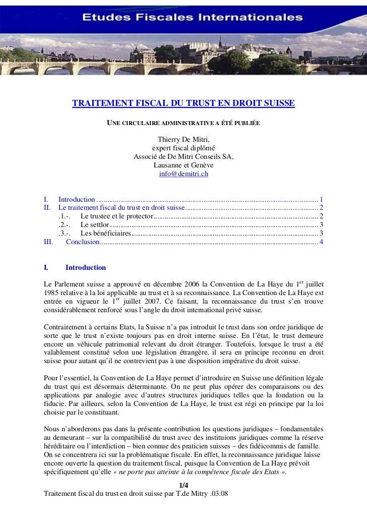 TRAITEMENT FISCAL DU TRUST EN DROIT SUISSE                               UNE CIRCULAIRE ADMINISTRATIVE A ÉTÉ PUBLIÉE      ...
