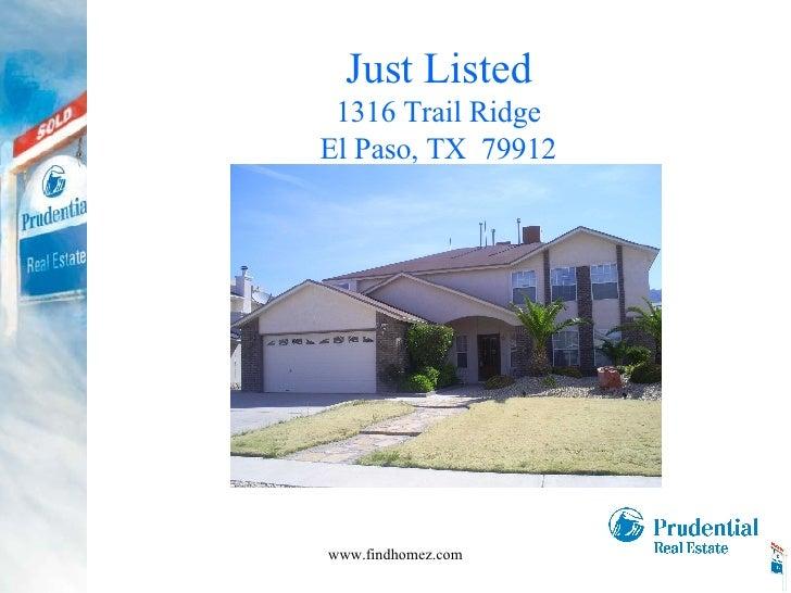 Just Listed 1316 Trail Ridge El Paso, TX  79912