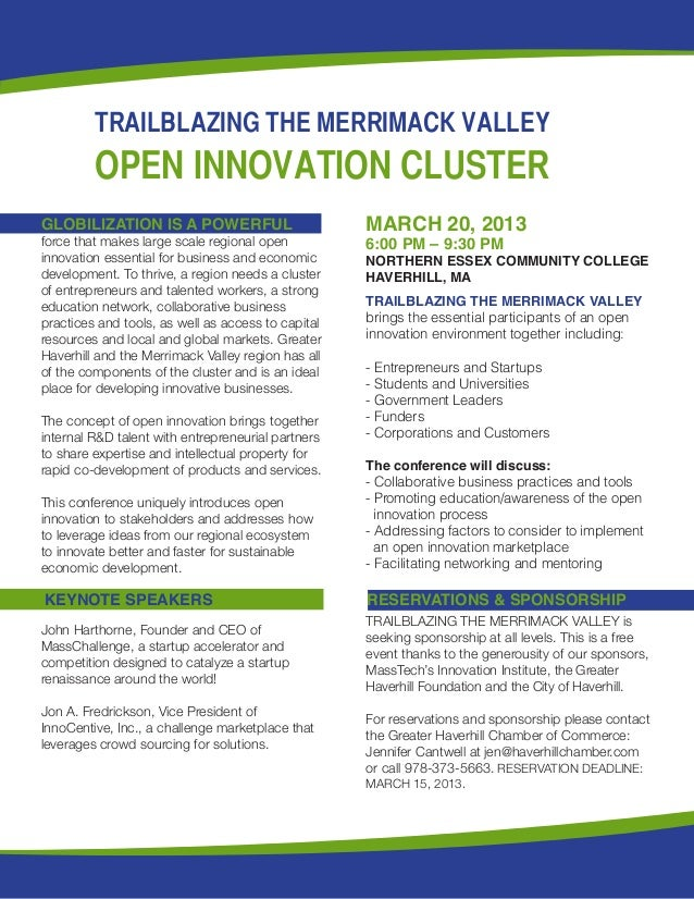 TRAILBLAZING THE MERRIMACK VALLEY         OPEN INNOVATION CLUSTERGLOBILIZATION IS A POWERFUL                         MARCH...