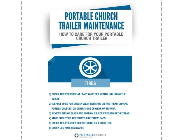 HOWTOCAREFORYOURPORTABLE CHURCHTRAILER PORTABLECHURCH TRAILERMAINTENANCE 1)CHECKTIREPRESSUREATLEASTONCEPERMONTH,INCLUDINGT...