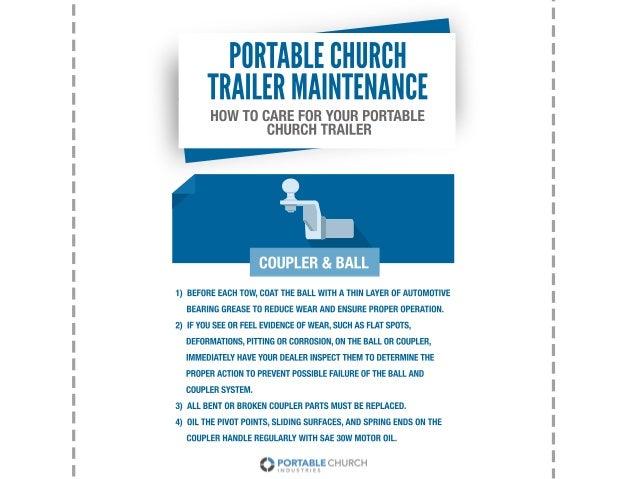 HOWTOCAREFORYOURPORTABLE CHURCHTRAILER PORTABLECHURCH TRAILERMAINTENANCE 1)BEFOREEACHTOW,COATTHEBALLWITHATHINLAYEROFAUTOMO...