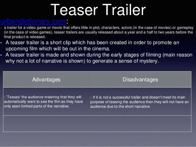 Teaser Trailer urbandictionary.com: - a trailer for a video game or movie that offers little in plot, characters, actors (...
