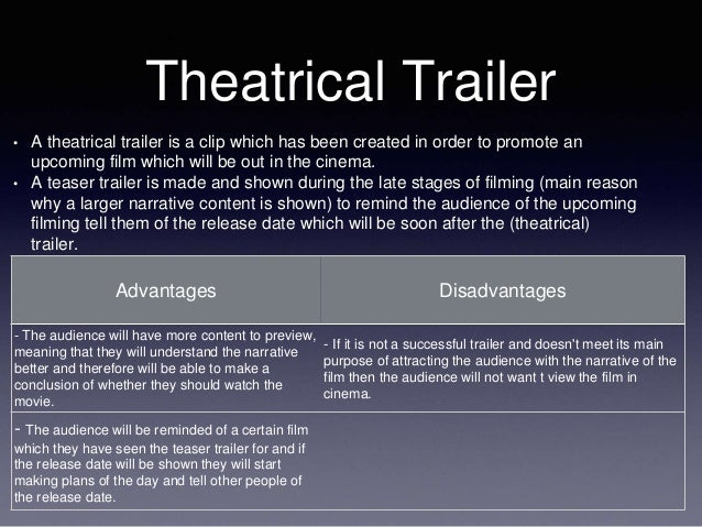 Theatrical Trailer • A theatrical trailer is a clip which has been created in order to promote an upcoming film which will...