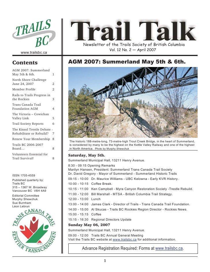Newsletter of the Trails Society of British Columbia                                                             Vol. 12 N...