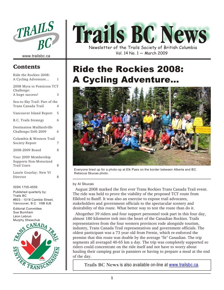 TRAI L S      BC                                   Newsletter of the Trails Society of British Columbia                   ...