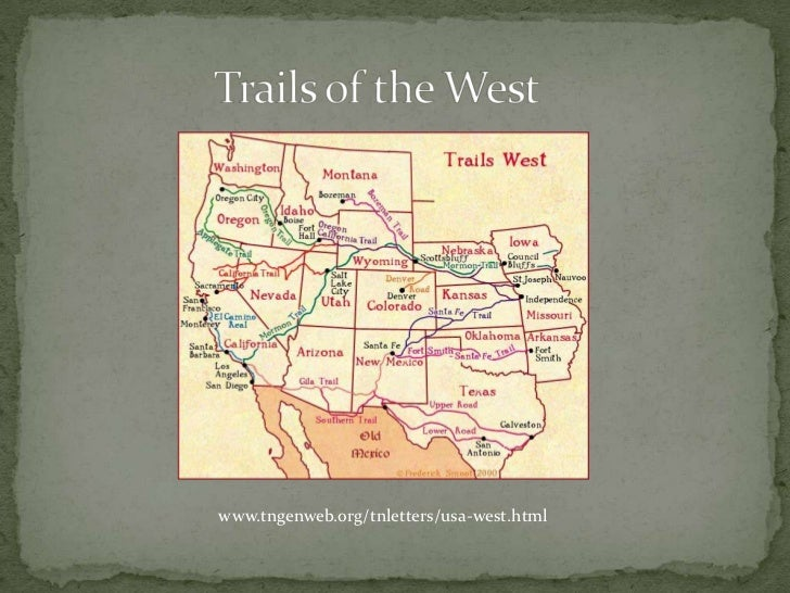 Trails of the West<br />www.tngenweb.org/tnletters/usa-west.html<br />