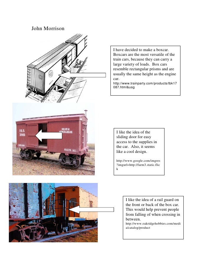 John Morrison                I have decided to make a boxcar.                Boxcars are the most versatile of the        ...
