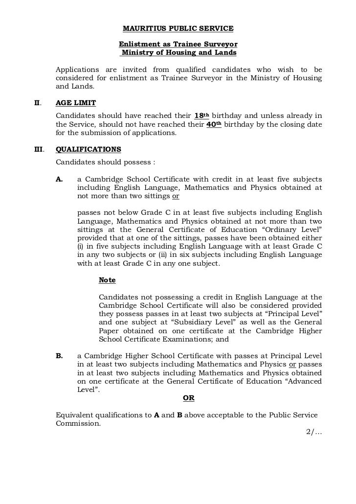 MAURITIUS PUBLIC SERVICE                          Enlistment as Trainee Surveyor                           Ministry of Hou...