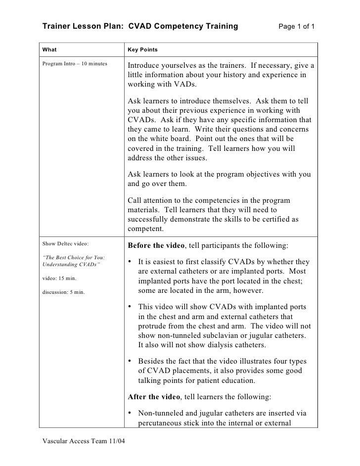 Trainer Lesson Plan: CVAD Competency Training                                Page 1 of 1   What                         Ke...