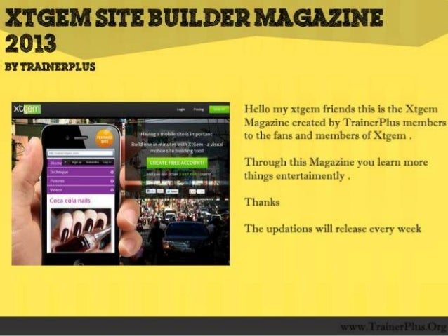 Trainer plus xtgem site builder magazine demo