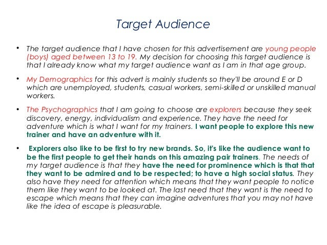 GCSE Media - Trainers Advert Examples of Planning