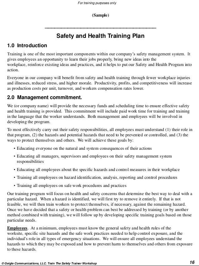 Train The Safety Trainer Workshop 15; 16.