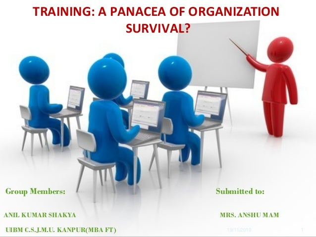 19/11/2010 TRAINING: A PANACEA OF ORGANIZATION SURVIVAL? Group Members: Submitted to: ANIL KUMAR SHAKYA MRS. ANSHU MAM UIB...