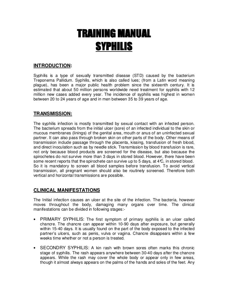 TRAINING MANUAL                             SYPHILIS INTRODUCTION: Syphilis is a type of sexually transmitted disease (STD...