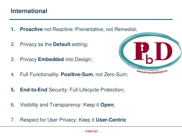 - Internal - International 1. Proactive not Reactive: Preventative, not Remedial; 2. Privacy as the Default setting; 3. Pr...