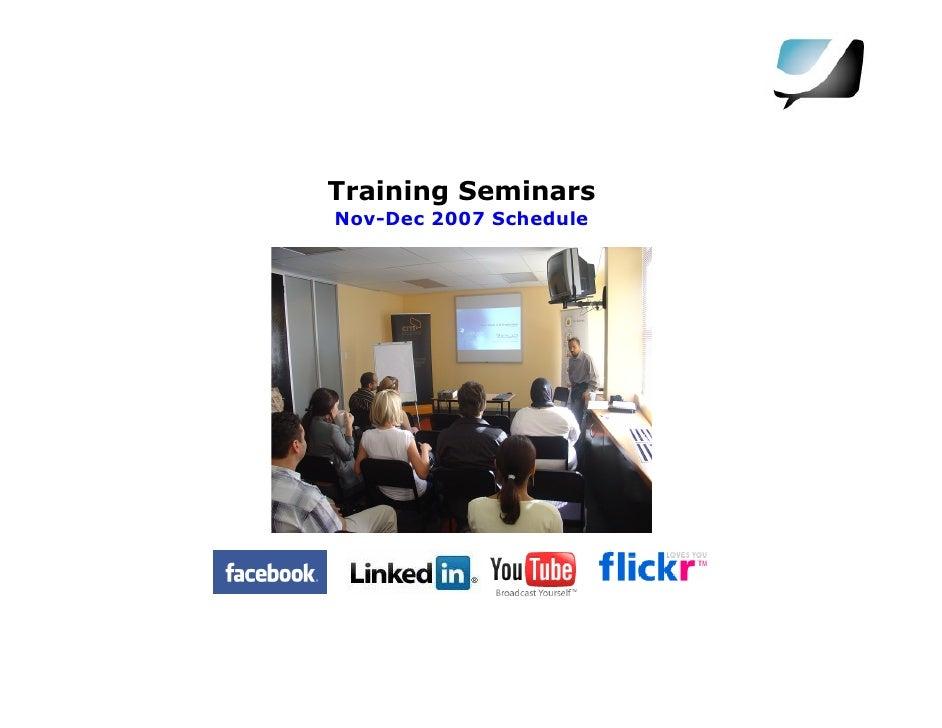 Training Seminars Nov-Dec 2007 Schedule