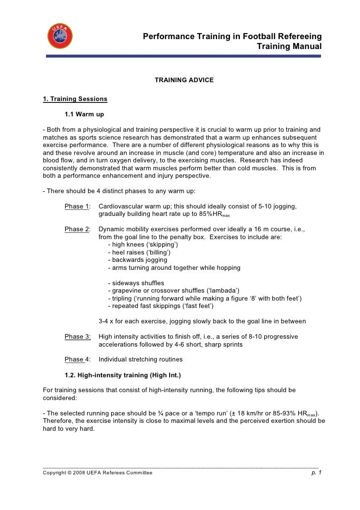 Performance Training in Football Refereeing                                                               Training Manual ...