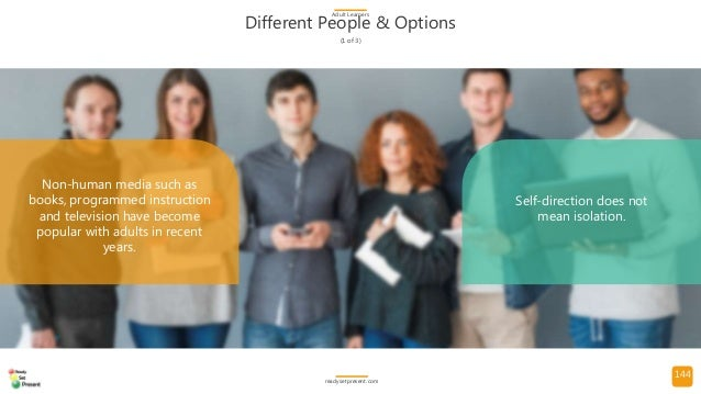 144 Different People & Options (1 of 3) Adult Learners readysetpresent.com Non-human media such as books, programmed instr...