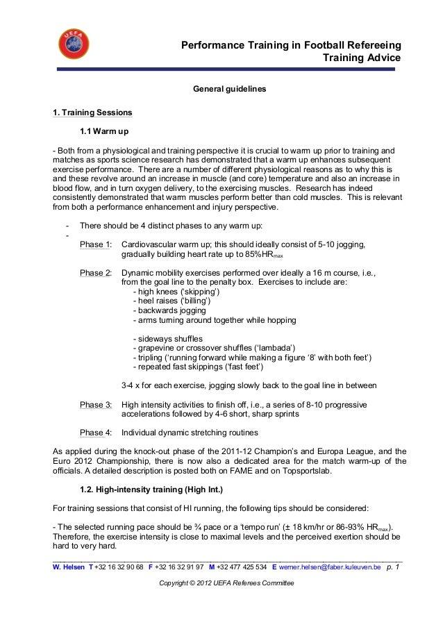 Performance Training in Football Refereeing                                                                 Training Advic...