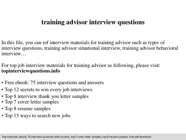Training advisor interview questions