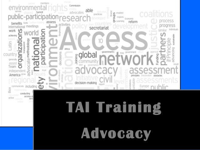 TAI Training Advocacy