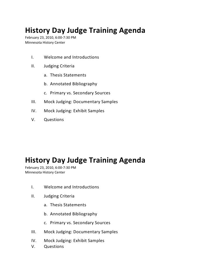 History Day Judge Training Agenda February 23, 2010, 6:00-7:30 PM Minnesota History Center      I.      Welcome and Introd...