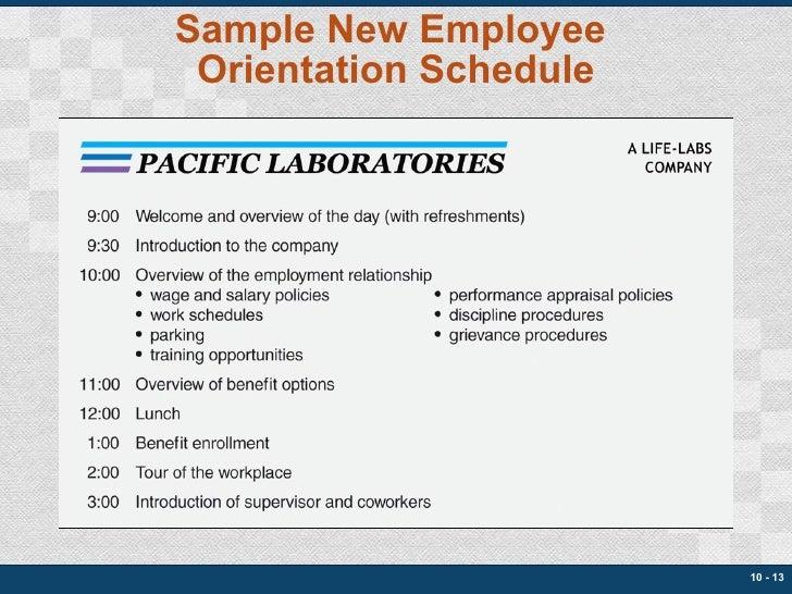 Sample New Employee  Orientation Schedule 10 -
