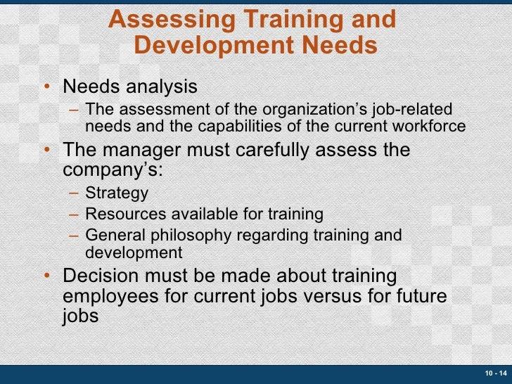 Assessing Training and  Development Needs <ul><li>Needs analysis </li></ul><ul><ul><li>The assessment of the organization'...