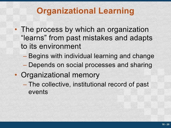 """Organizational Learning <ul><li>The process by which an organization """"learns"""" from past mistakes and adapts to its environ..."""