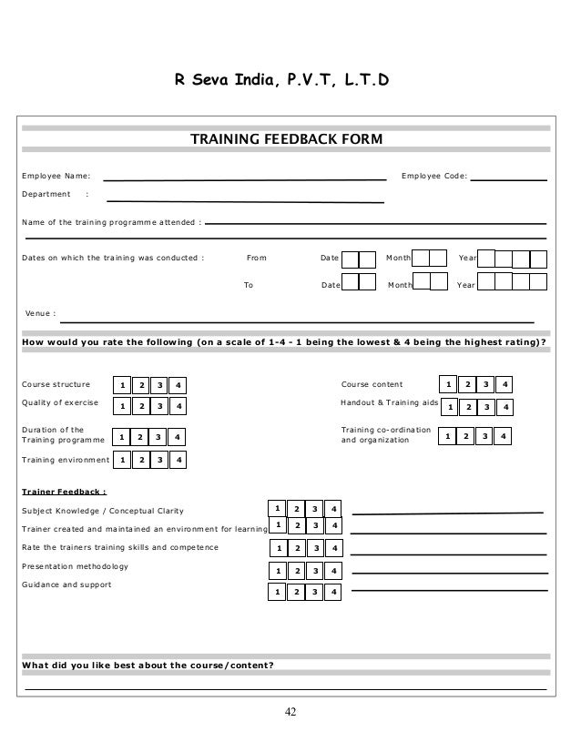 training feedback form for employees Training and development