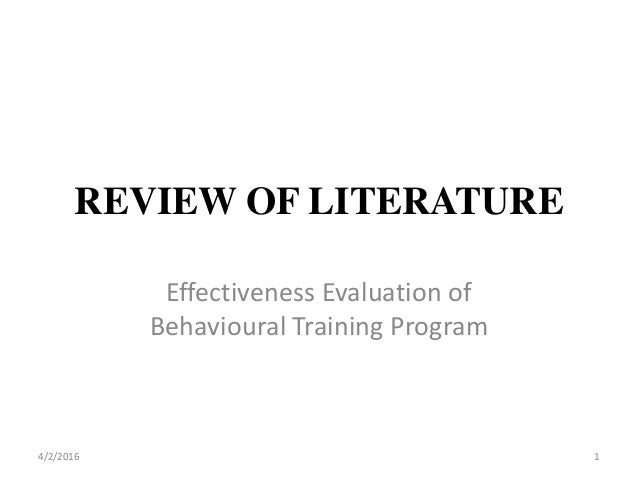 literature review on training effectiveness How effective is eccentric viewing training a systematic literature current literature regarding the effectiveness of eccentric the literature review.