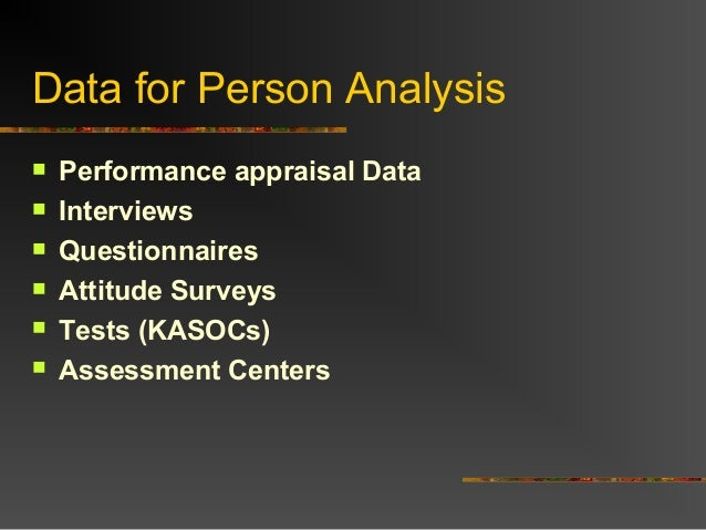 Data for Person Analysis Performance appraisal Data Interviews Questionnaires Attitude Surveys Tests (KASOCs) Assess...