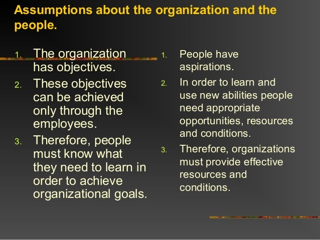Assumptions about the organization and thepeople.1. The organizationhas objectives.2. These objectivescan be achievedonly ...