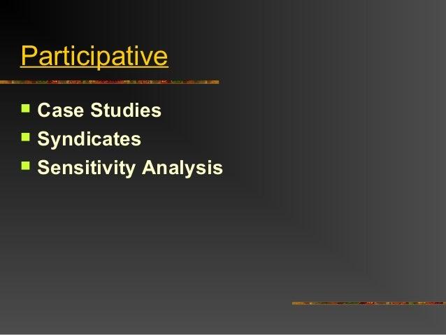 Participative Case Studies Syndicates Sensitivity Analysis