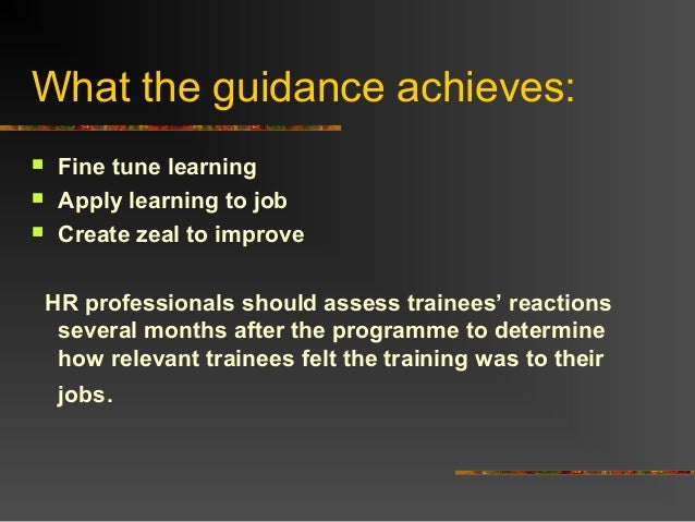 What the guidance achieves: Fine tune learning Apply learning to job Create zeal to improveHR professionals should asse...