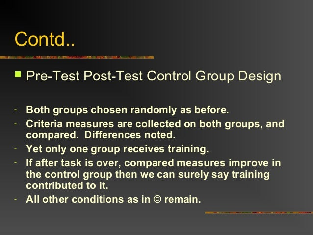 Contd.. Pre-Test Post-Test Control Group Design- Both groups chosen randomly as before.- Criteria measures are collected ...