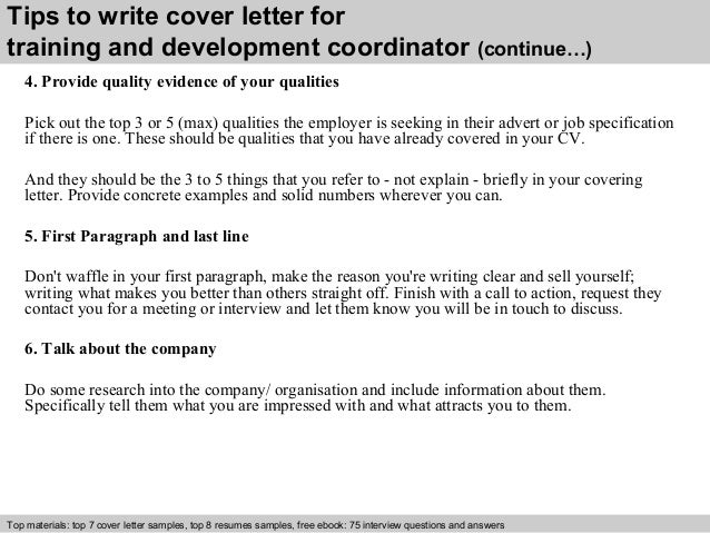 Training and development coordinator cover letter
