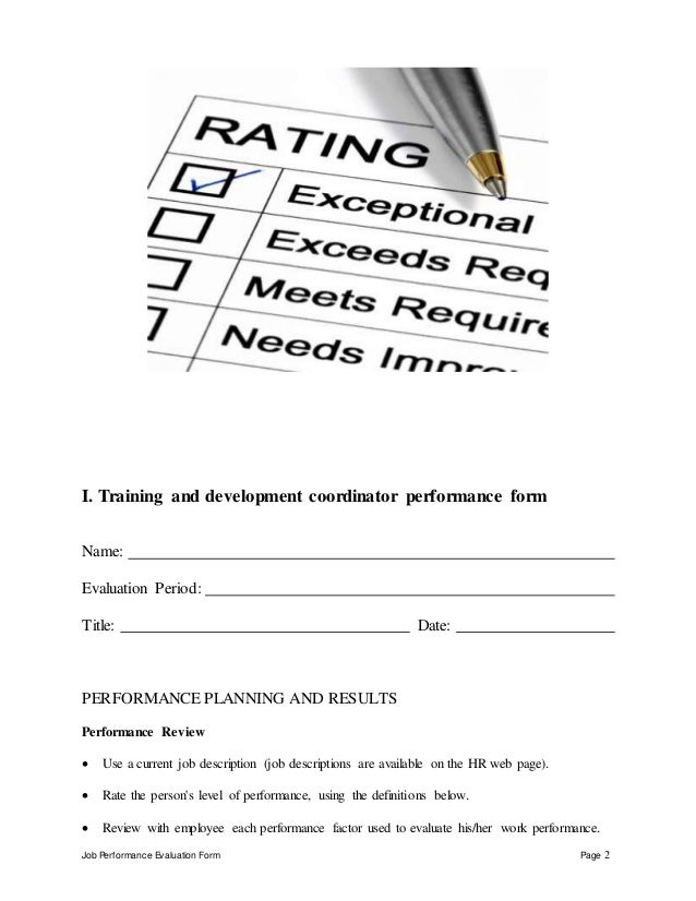 Training and development coordinator performance appraisal – On the Job Training Evaluation Form