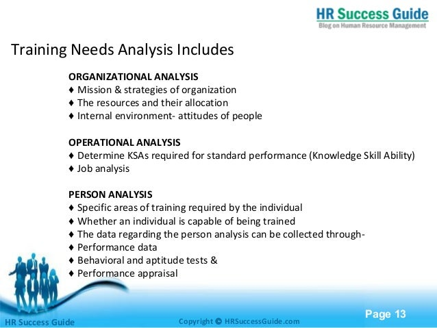 Training and development for Organizational needs analysis template