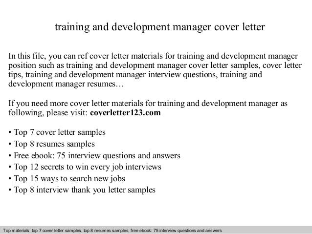 Delightful Training And Development Manager Cover Letter In This File, You Can Ref Cover  Letter Materials ...