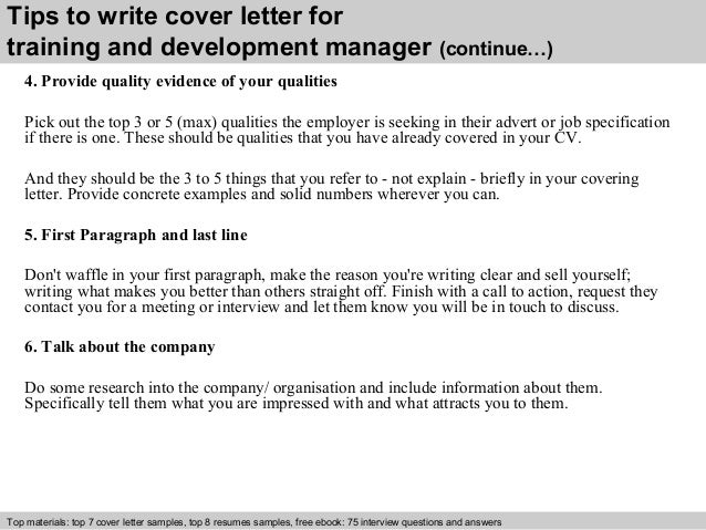 ... 4. Tips To Write Cover Letter For Training And Development Manager ...