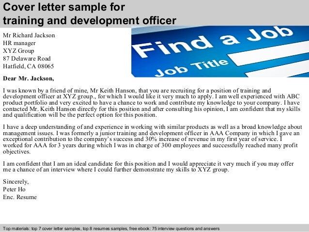 Training and development officer cover letter cover letter sample for training spiritdancerdesigns Gallery