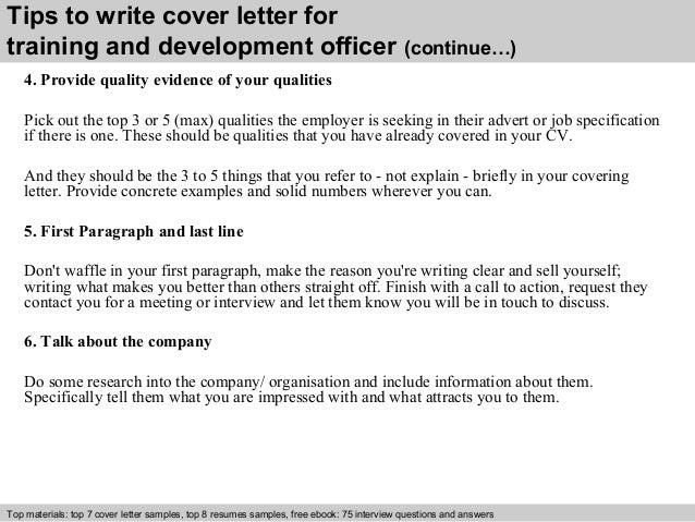 training and development officer cover letter