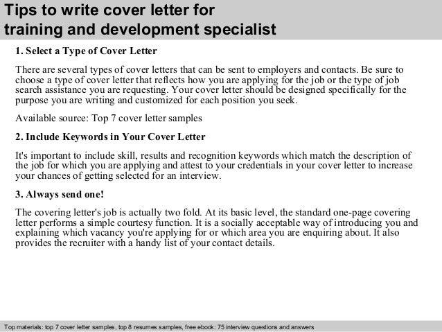Training Specialist Cover Letter