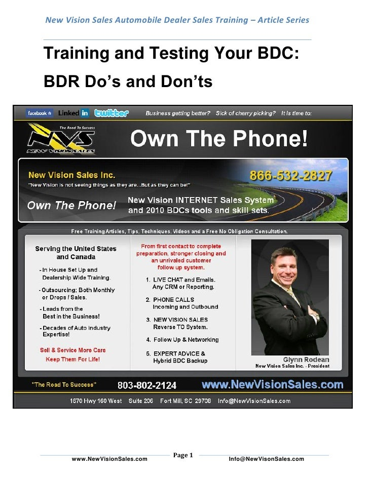 New Vision Sales Automobile Dealer Sales Training – Article Series   Training and Testing Your BDC: BDR Do's and Don'ts   ...