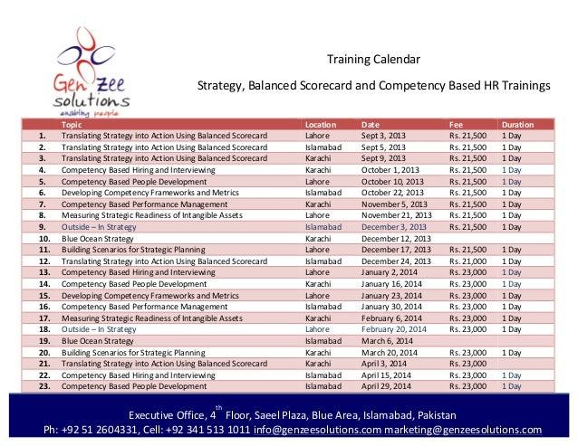 Training  Calendar   Strategy,  Balanced  Scorecard  and  Competency  Based  HR  Trainings   Ex...