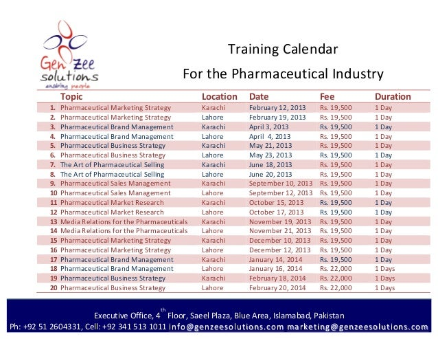 Training	  Calendar	                                                                            For	  the	  Pharmaceutical...