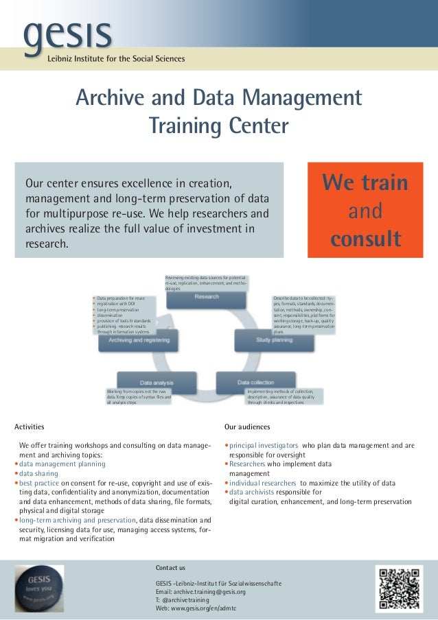 Archive and Data Management                            Training Center   Our center ensures excellence in creation,       ...
