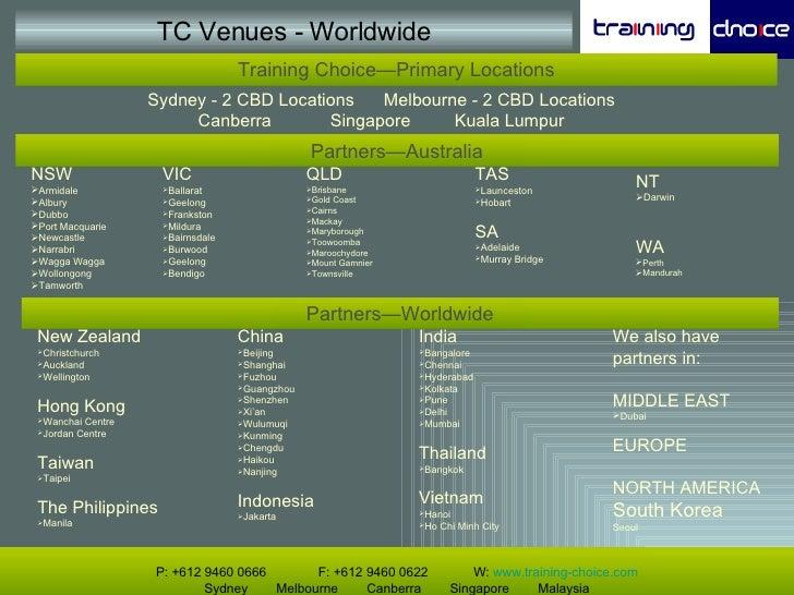 TC Venues - Worldwide P: +612 9460 0666   F: +612 9460 0622  W:  www.training-choice.com Sydney  Melbourne  Canberra  Sing...